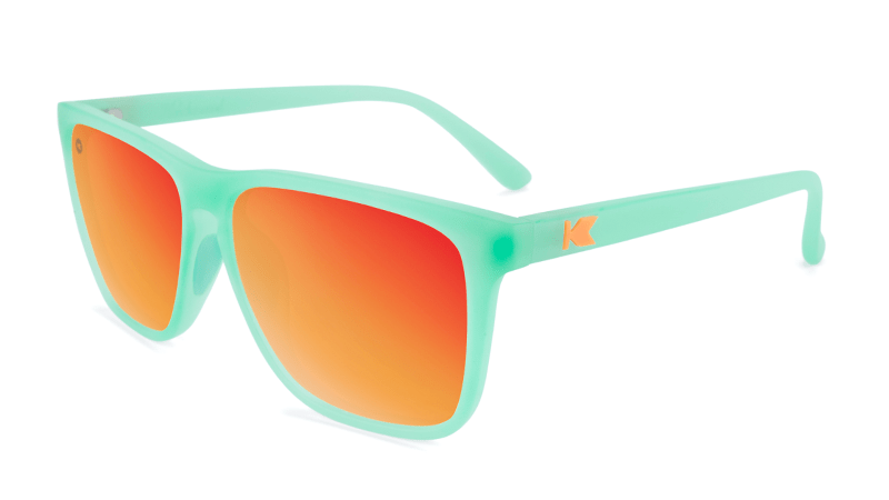 Mint sunglasses with square red lenses
