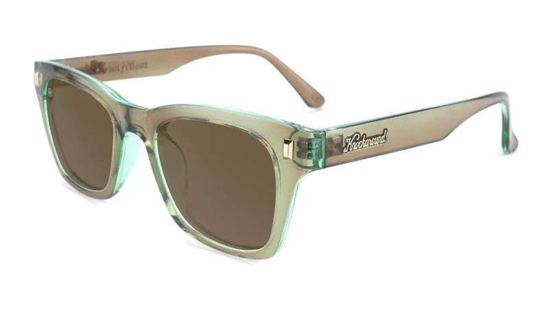 Clear green sunglasses with square black lenses