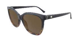 Glossy black cat eye sunglasses with Tortoise shell fade and amber lenses
