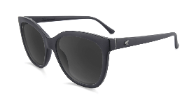 Matte black cat eye sunglasses with black lenses
