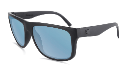 Large matte black sunglasses with blue lenses