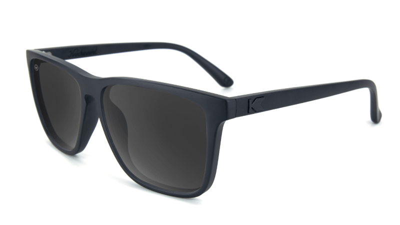 Matte black sunglasses with black square lenses