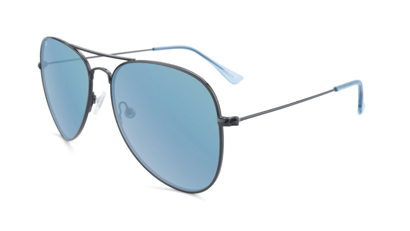 Black aviators with blue mirrored lenses