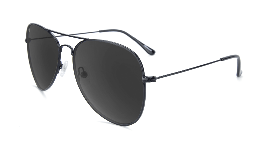 Black aviator sunglasses with black lenses