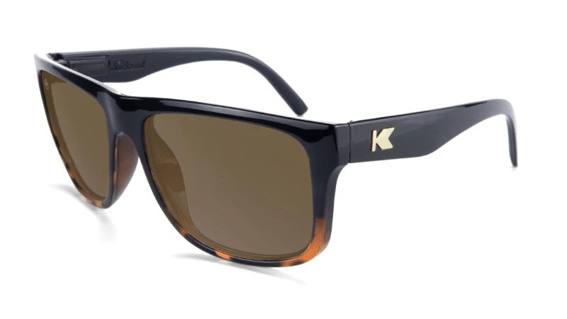 Large glossy black mens sunglasses with Tortoise shell fade and amber lenses