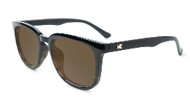 Glossy black tortoise sunglasses with amber lenses