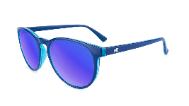 glossy blue sunglasses with round blue lenses