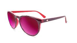 Glossy magenta sunglasses with round violet lenses