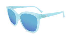 Light blue cat eye sunglasses with blue lenses