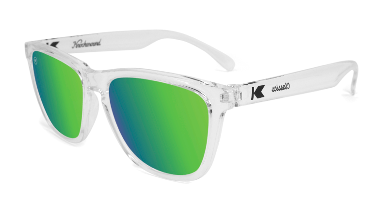 Glossy clear sunglasses with green mirrored lenses