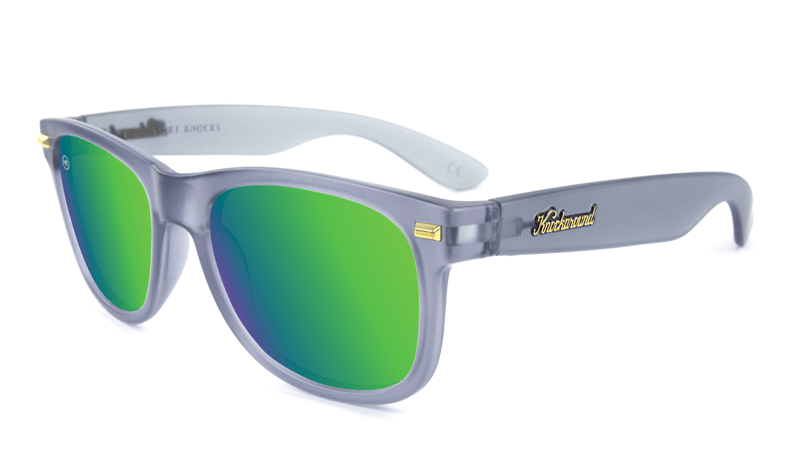 Frosted grey sunglasses with green lenses