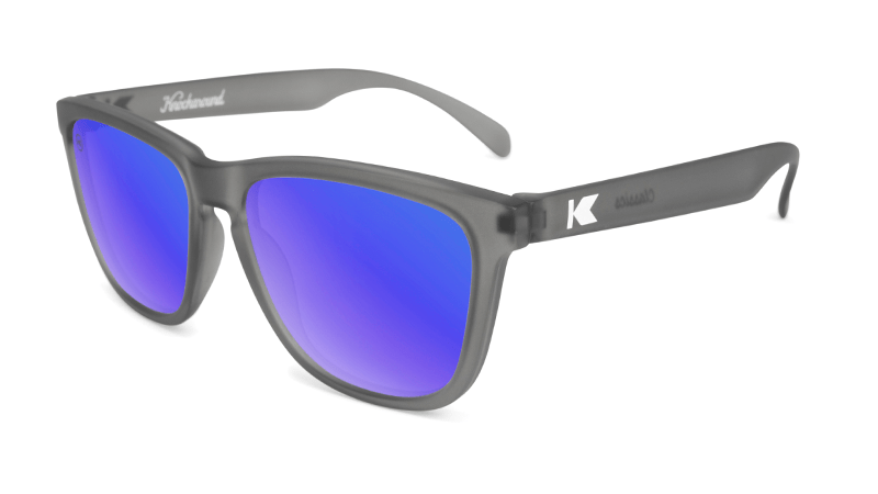 frosted grey sunglasses with blue lenses