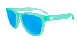 Ice blue sunglasses with blue lenses