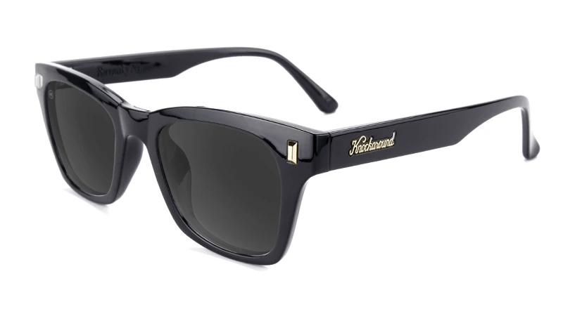 Glossy black sunglasses with black square lenses