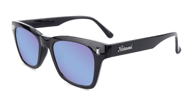 Glossy black sunglasses with blue lenses