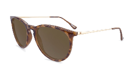 Glossy tortoise shell sunglasses with round amber lenses