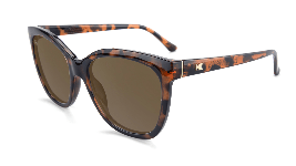 Glossy tortoise shell cat eye sunglasses with amber lenses