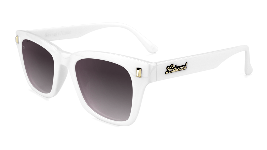 Glossy white sunglasses with square black gradient lenses