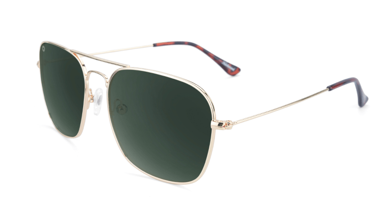 Gold Aviators with square green lenses