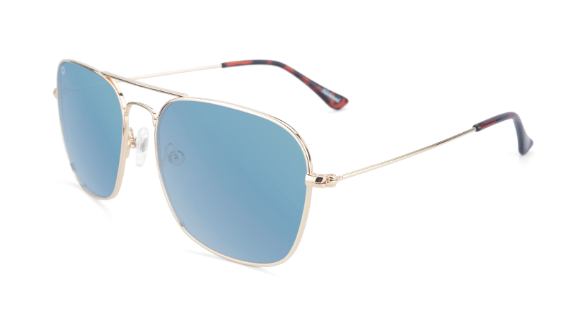 Gold aviators with blue square lenses