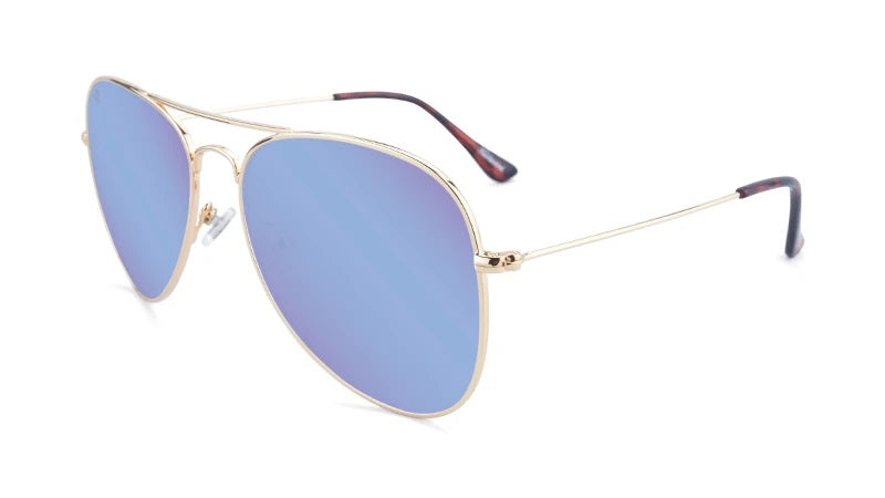 Gold aviators with blue lenses