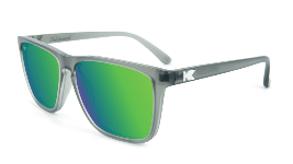 Clear grey sunglasses with square green lenses