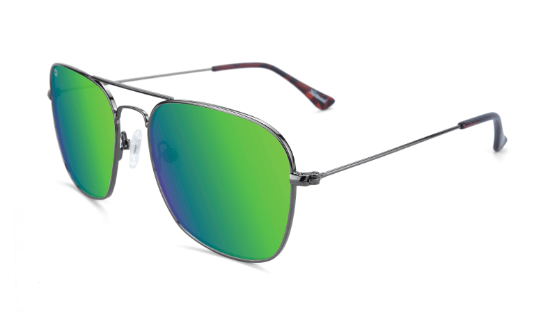 Gunmetal Aviators with square green lenses