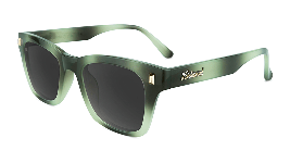 Green tortoise shell sunglasses with black square lenses