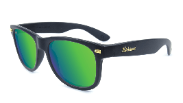 Matte black sunglasses with green lenses