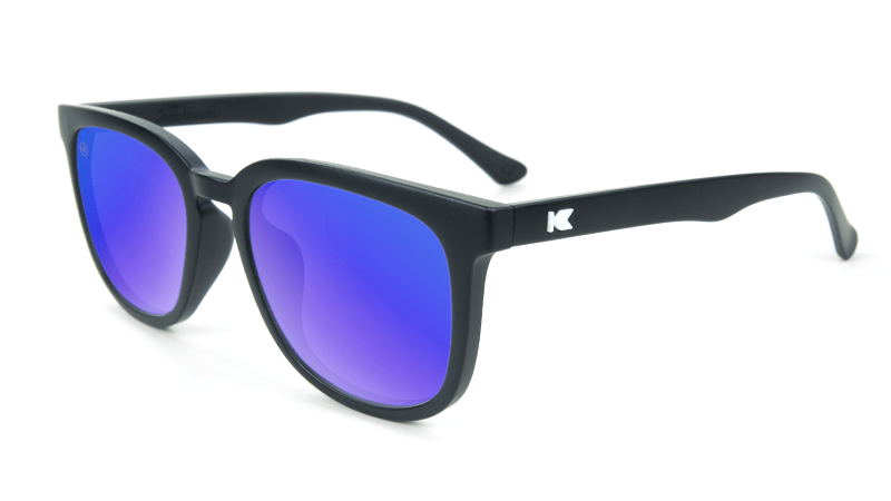 Matte black sunglasses with square blue lenses