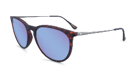 matte tortoise shell sunglasses with round blue lenses