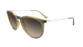 Green sunglasses with round black gradient lenses