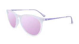 Lavender sunglasses with round pink lenses