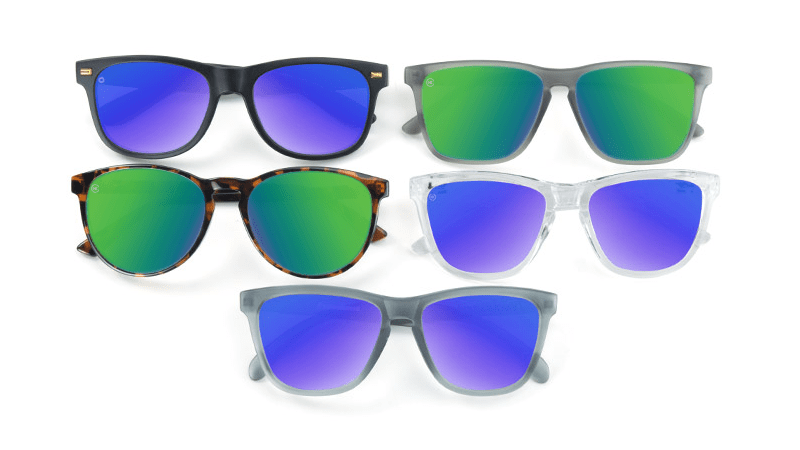 Sunglasses with green and blue lenses
