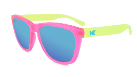 Neon Pink/Yellow  sunglasses with blue lenses