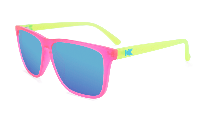 Neon Pink/Yellow sunglasses with square blue lenses