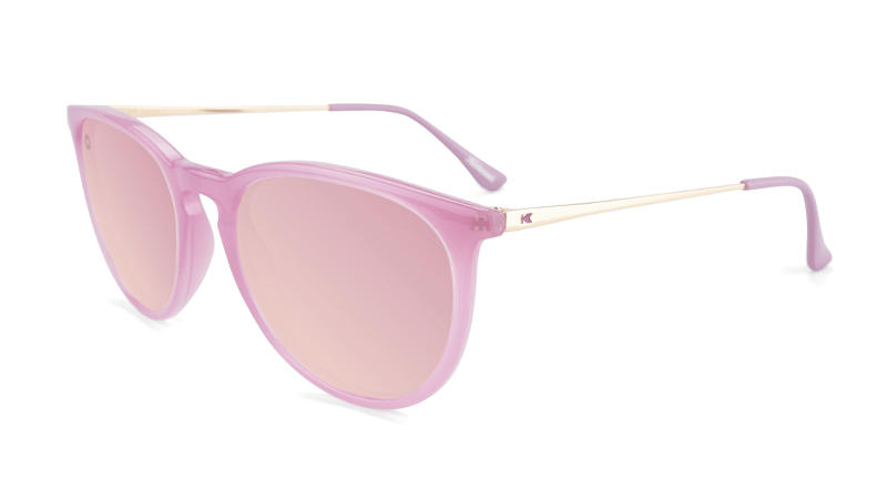 Pink sunglasses with round pink mirrored lenses