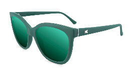 Matte green cat eye sunglasses with green lenses