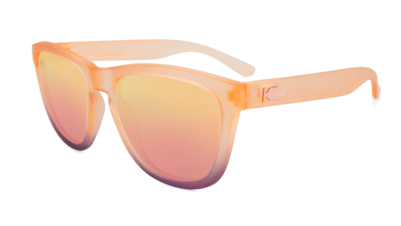 Peach sunglasses with rose gold lenses
