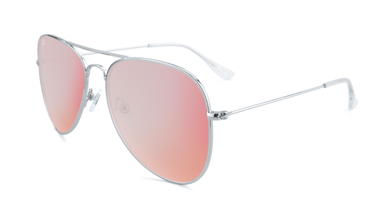 Silver aviator sunglasses with pink mirrored lenses