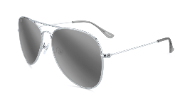 Silver aviator glasses with silver mirror lenses