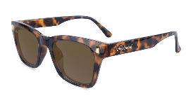 Glossy tortoise shell sunglasses with square amber lenses