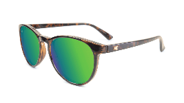 Glossy tortoise shell sunglasses with round green lenses