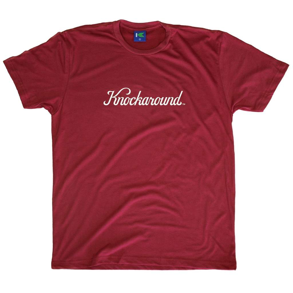 Redt-shirt with printed knockround logo design on the front