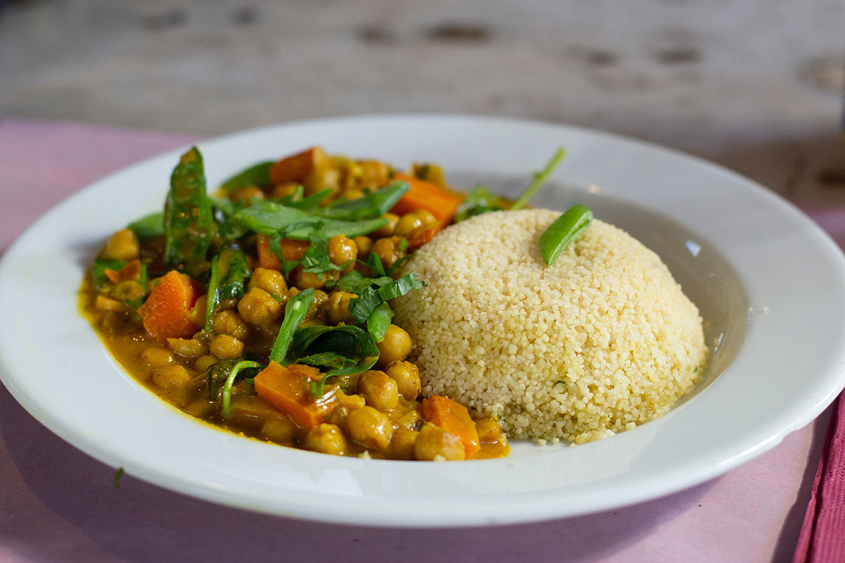Chickpea and couscous plant based curry