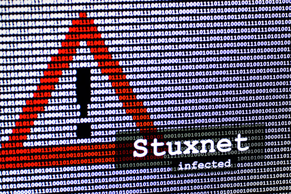 Computer virus Stuxnet in front of a binary background