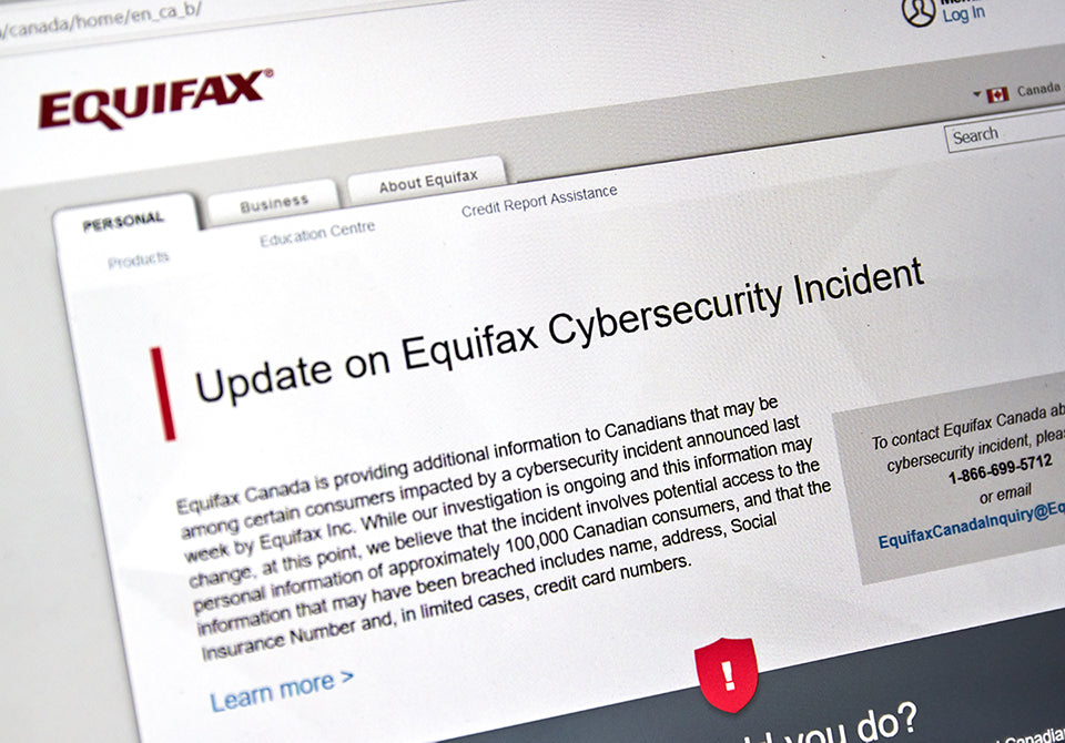 Equifax Canada home page with information about cybersecurity incident