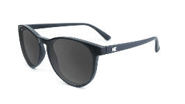 Matte black sunglasses with round black lenses