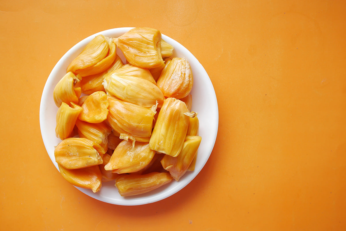 Top view of jackfruit slices in a bowl