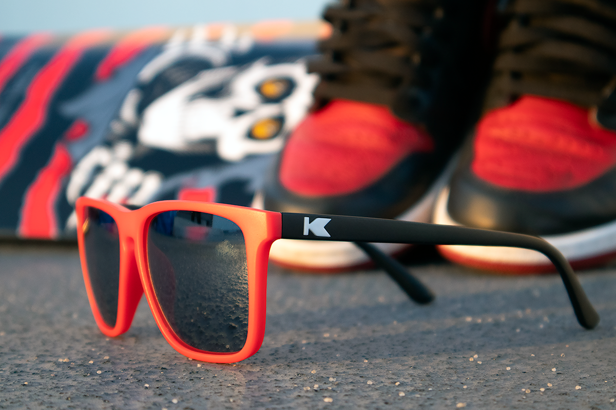 Jordan 1 Skate Deck shoe and Knockaround Custom Fast Lanes sunglasses